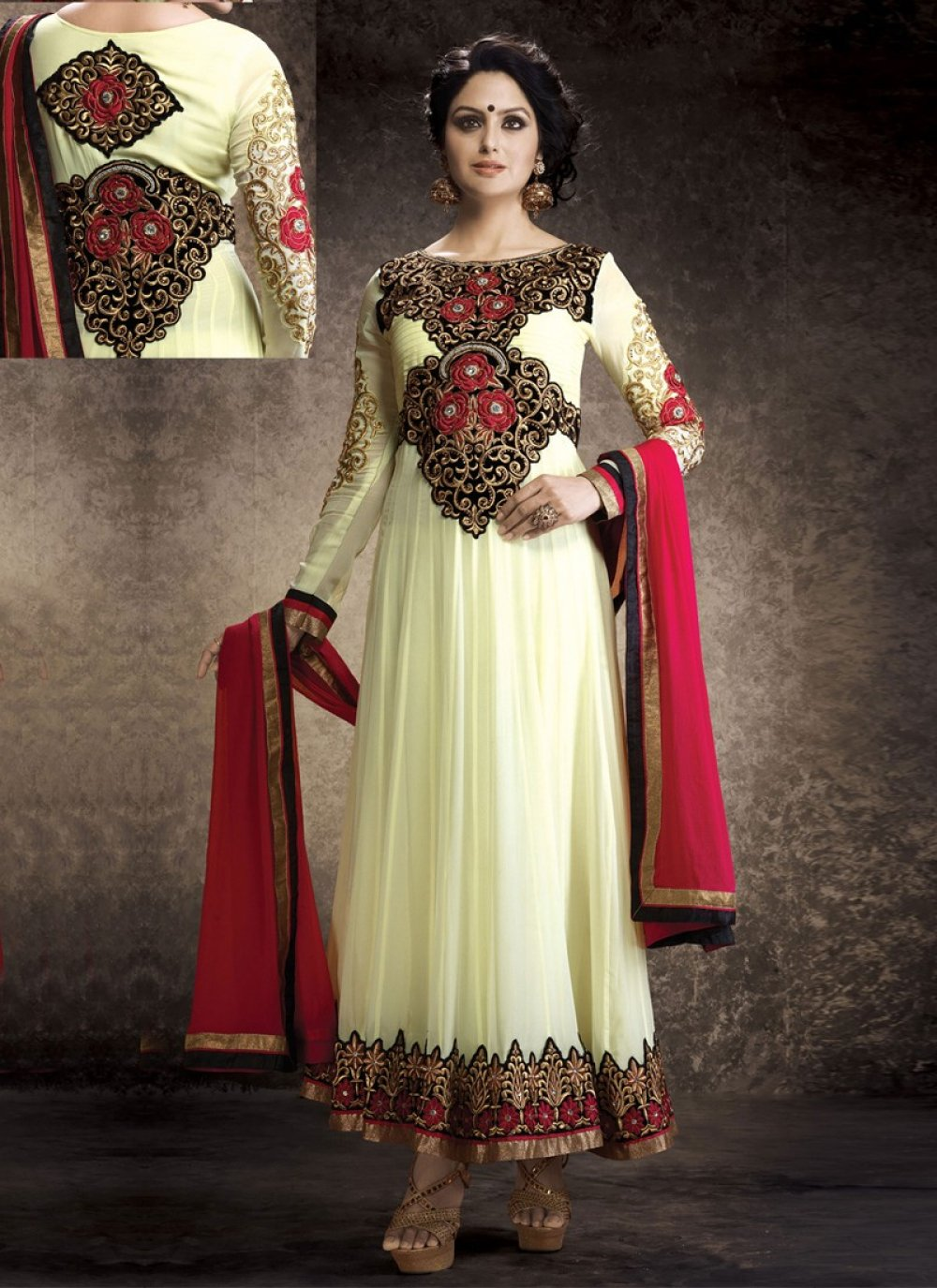 Cream Resham Work Anarkali Salwar Suit