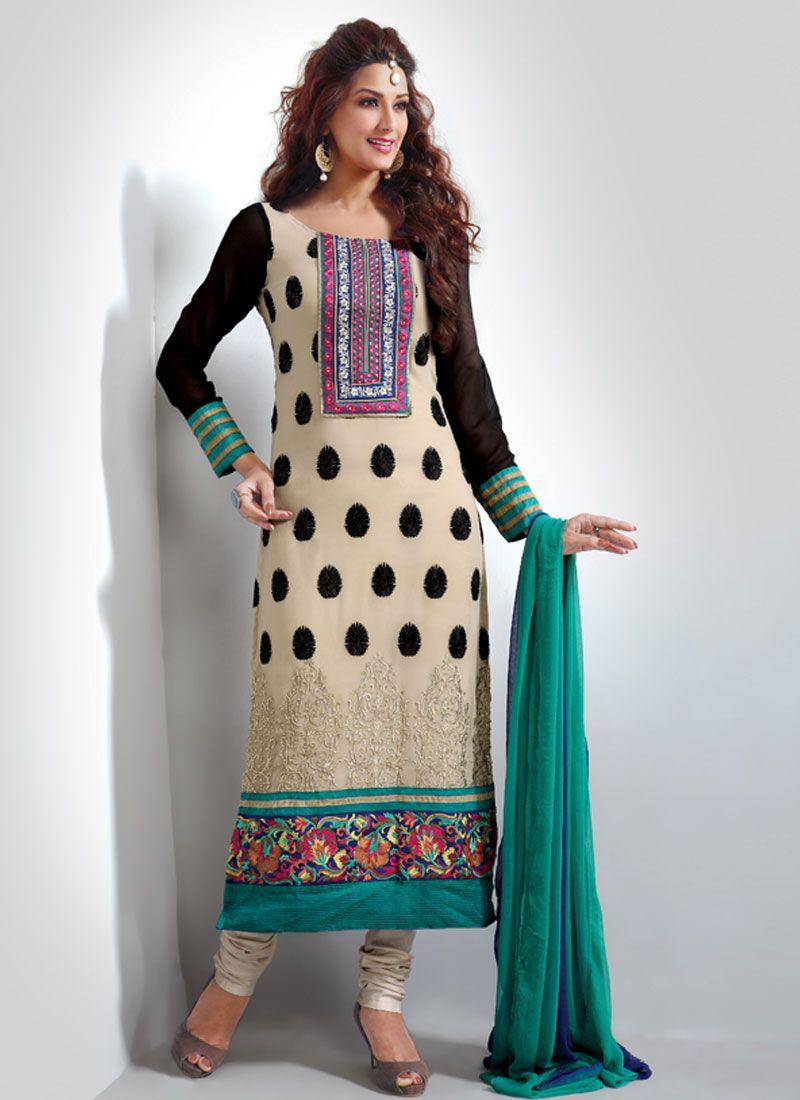 Cream Resham Work Churidar Salwar Kameez