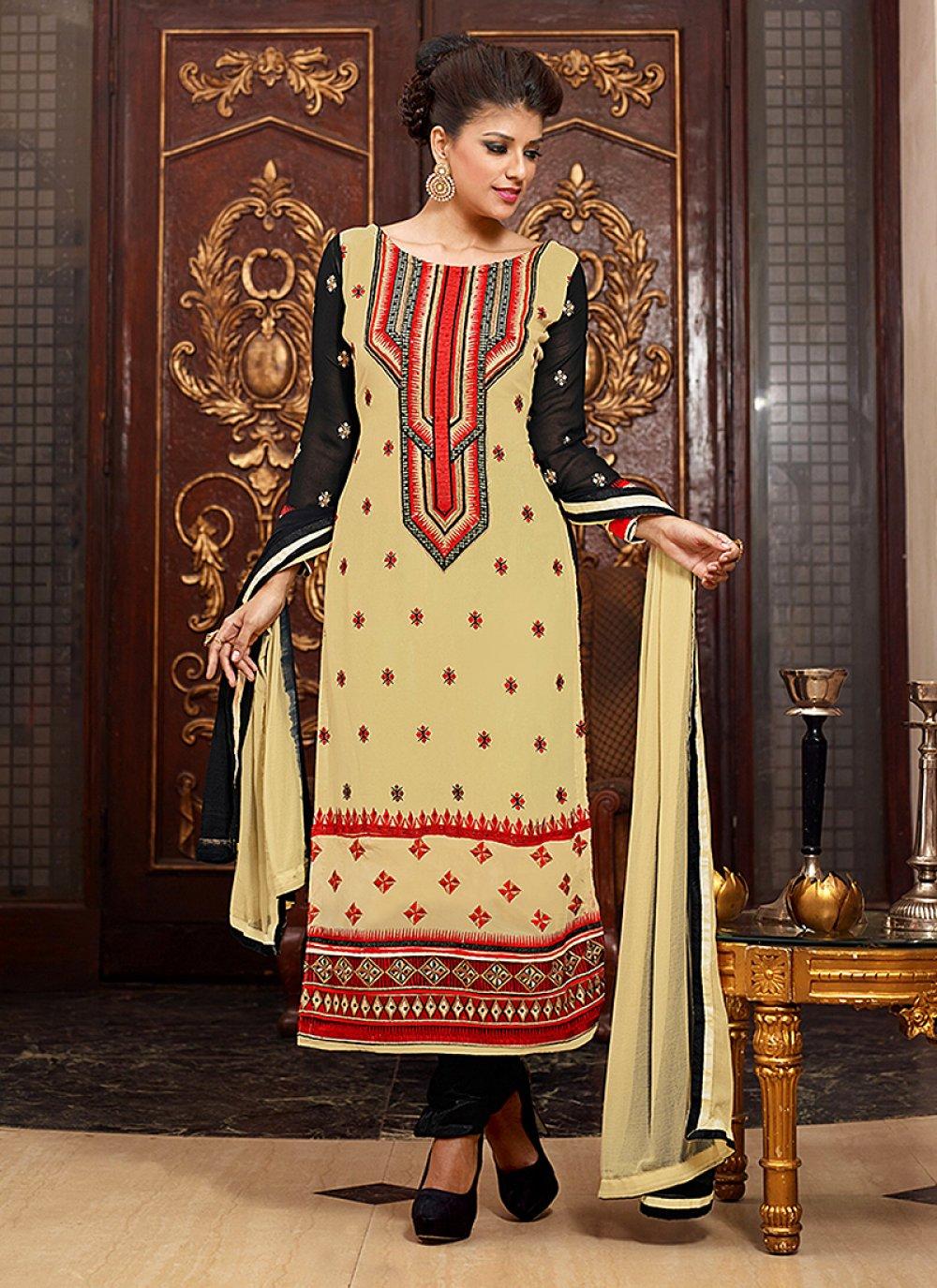 Cream Resham Work Churidar Suit