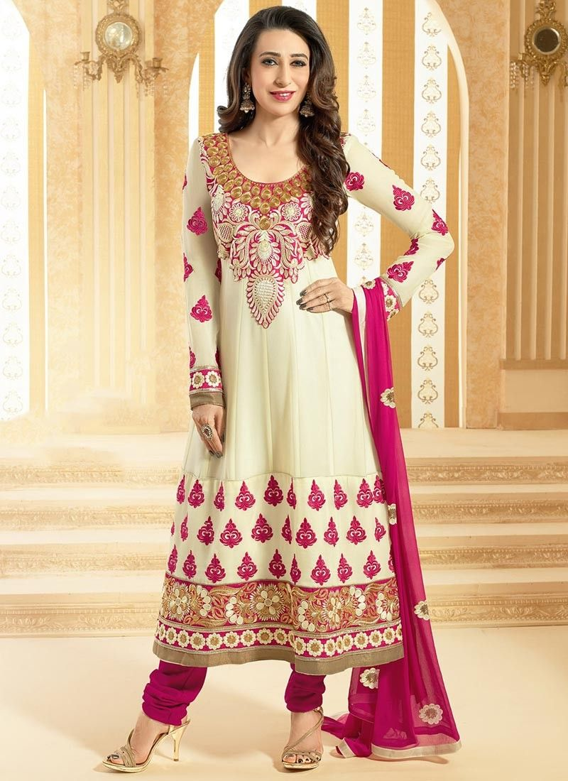 Cream Resham Work Georgette Churidar Suit