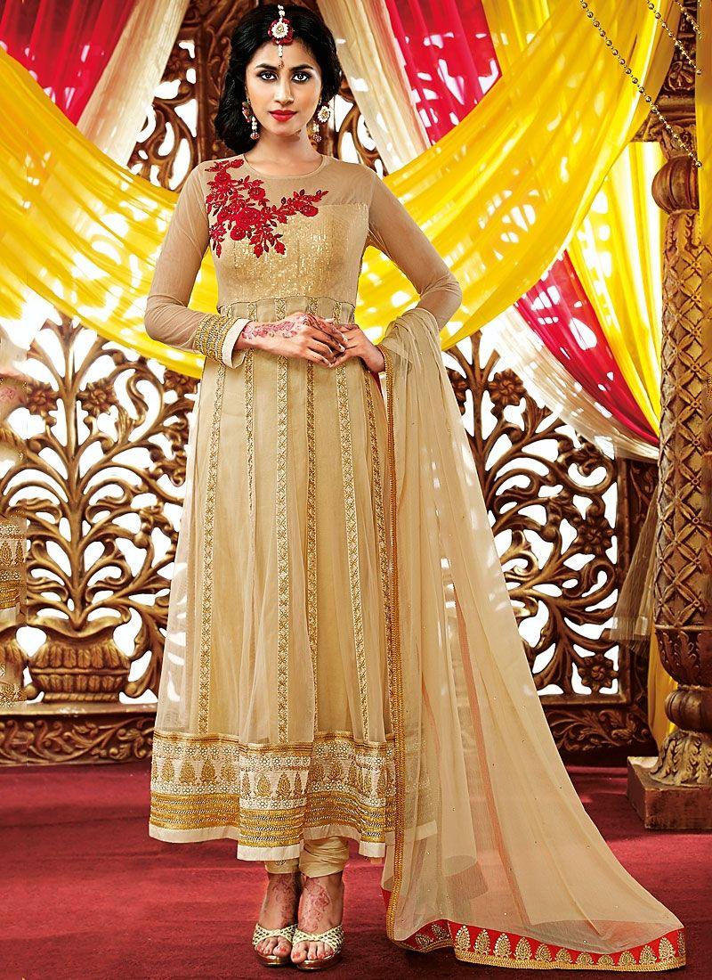 Cream Stone Work Net Georgette Anarkali Suit
