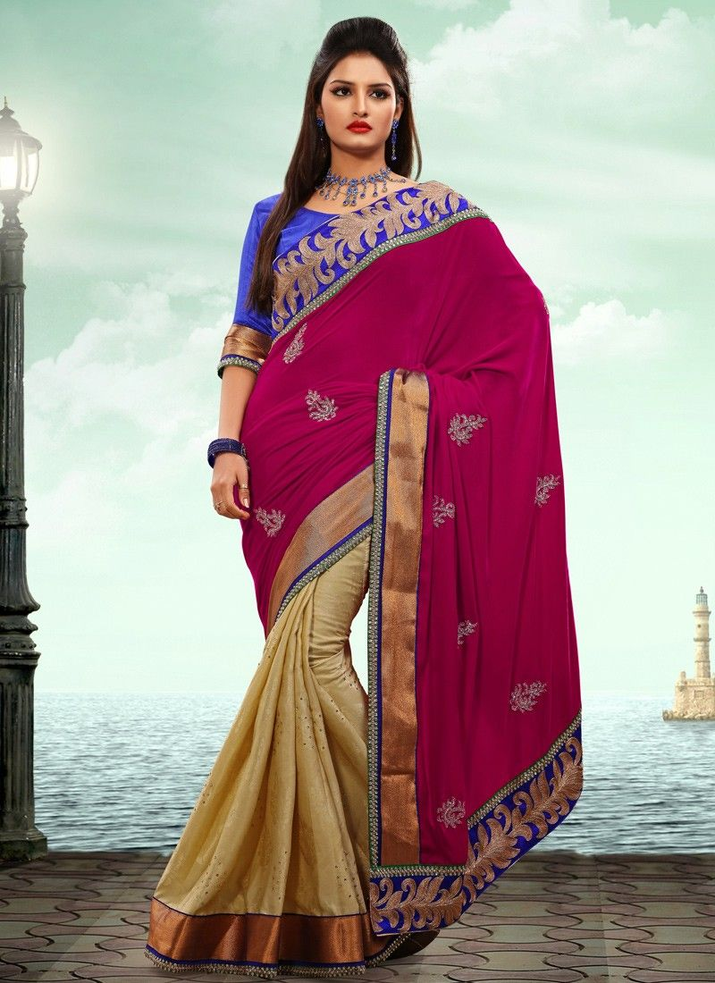 Cream Velvet Half And Half Saree