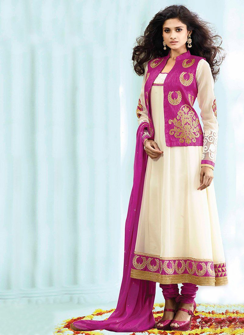 Cream Zari Border Work Faux Georgette Anarkali Suit