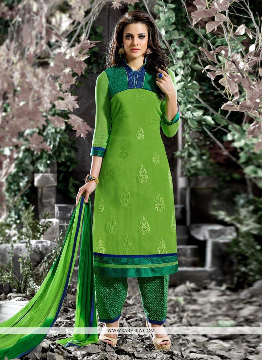 Embroidered Work Cotton   Green Designer Salwar Suit