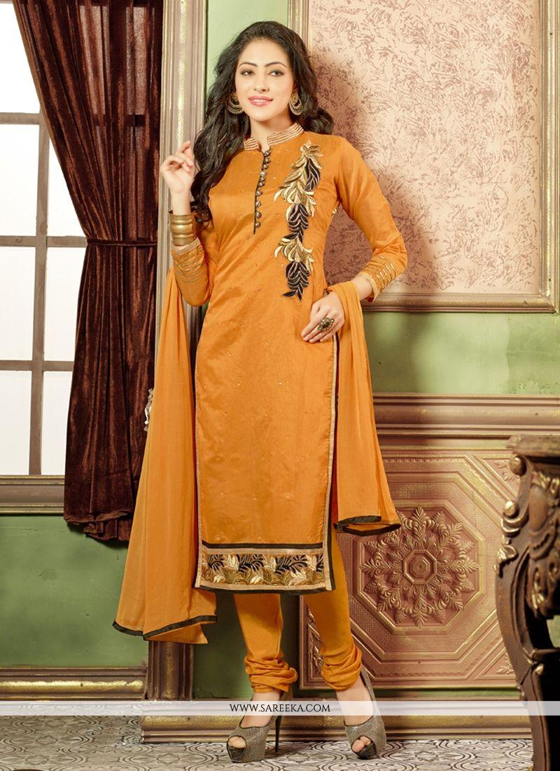 Embroidered Work Mustard Churidar Salwar Suit