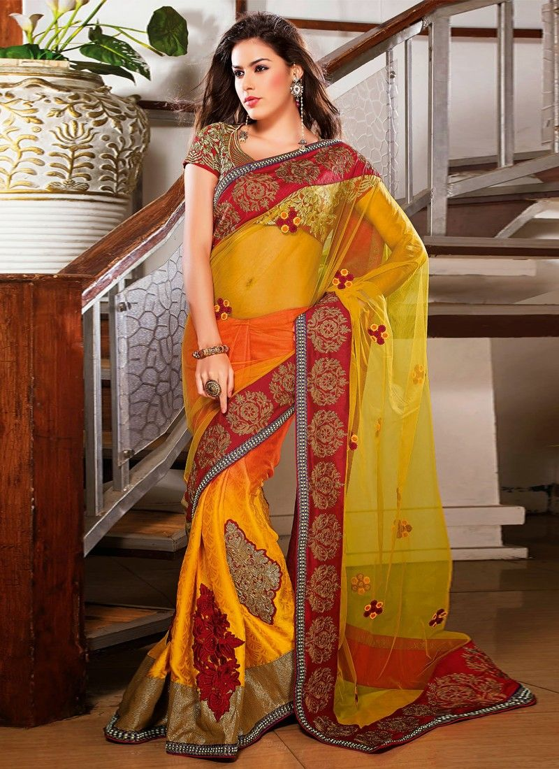 Gold And Orange Net Party Wear Saree