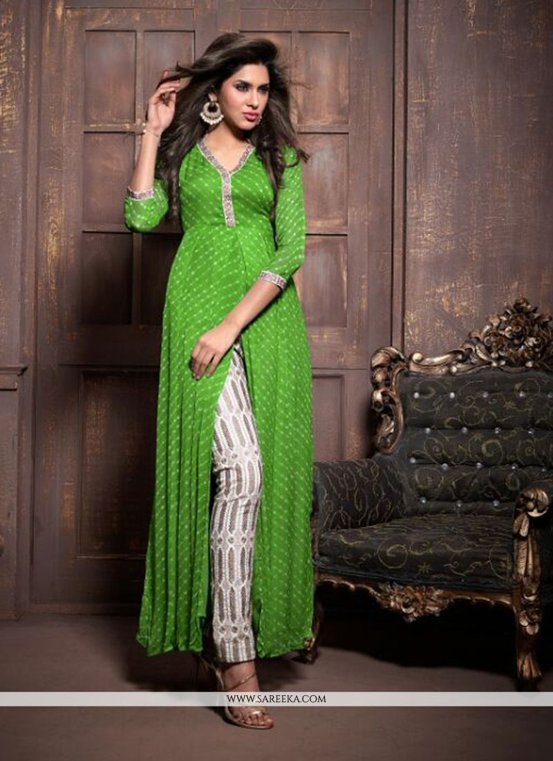 Green Faux Chiffon Pant Style Suit