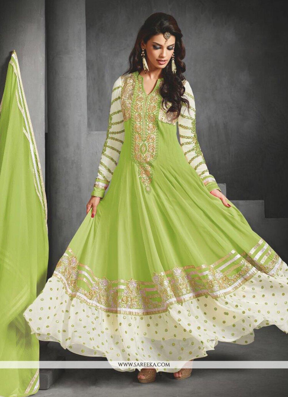 Green Faux Georgette Anarkali Suit