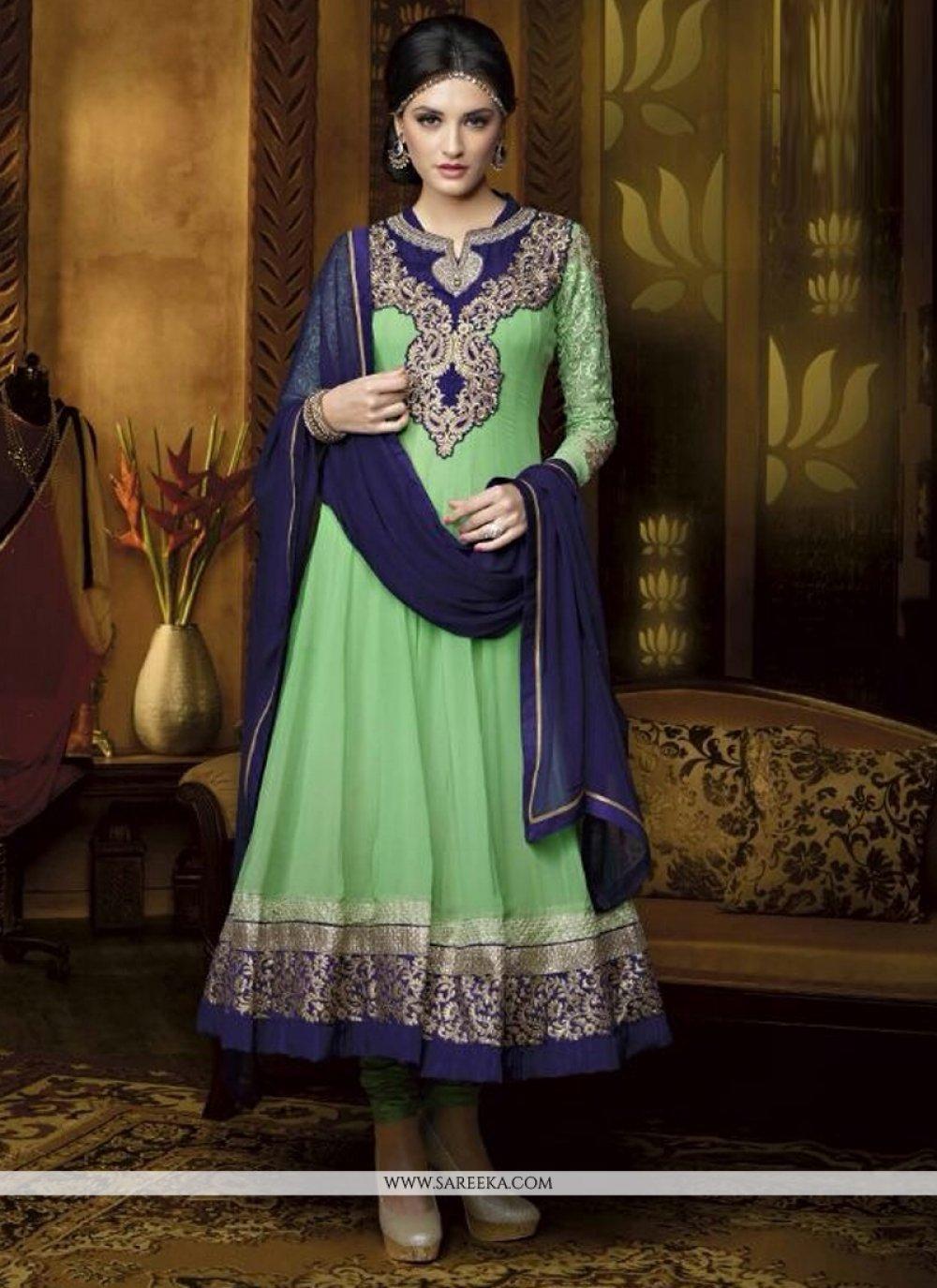 Green Georgette Anarkali Suit