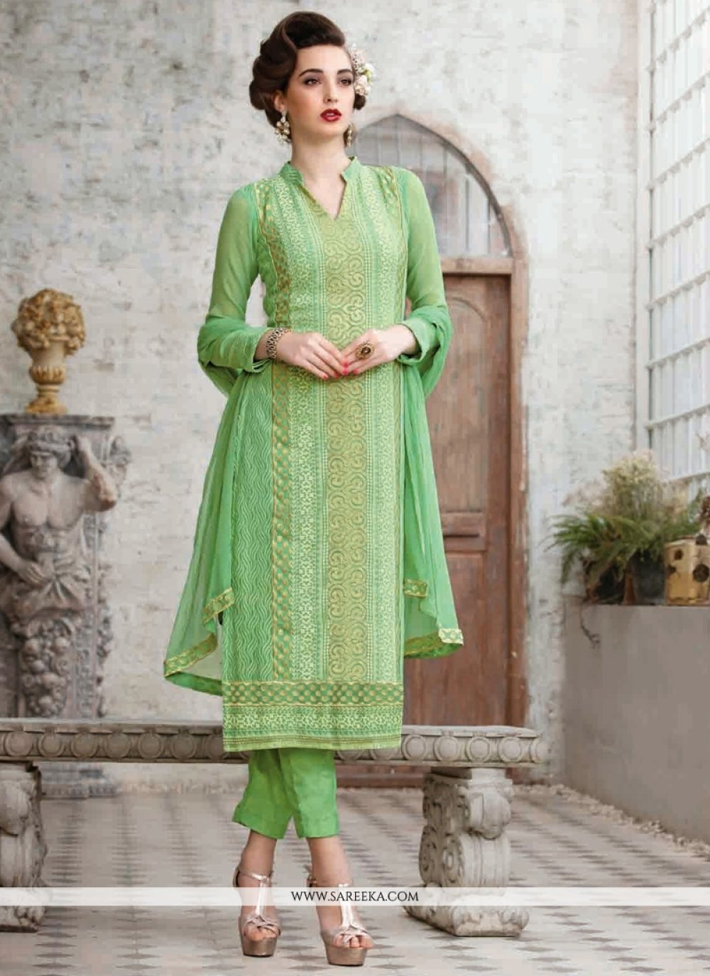 Green Georgette Pant Style Suit