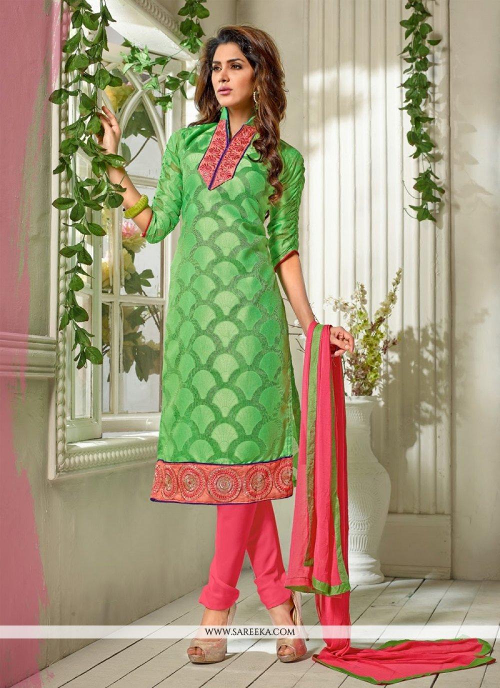 Green Pure Jacquard Churidar Suit