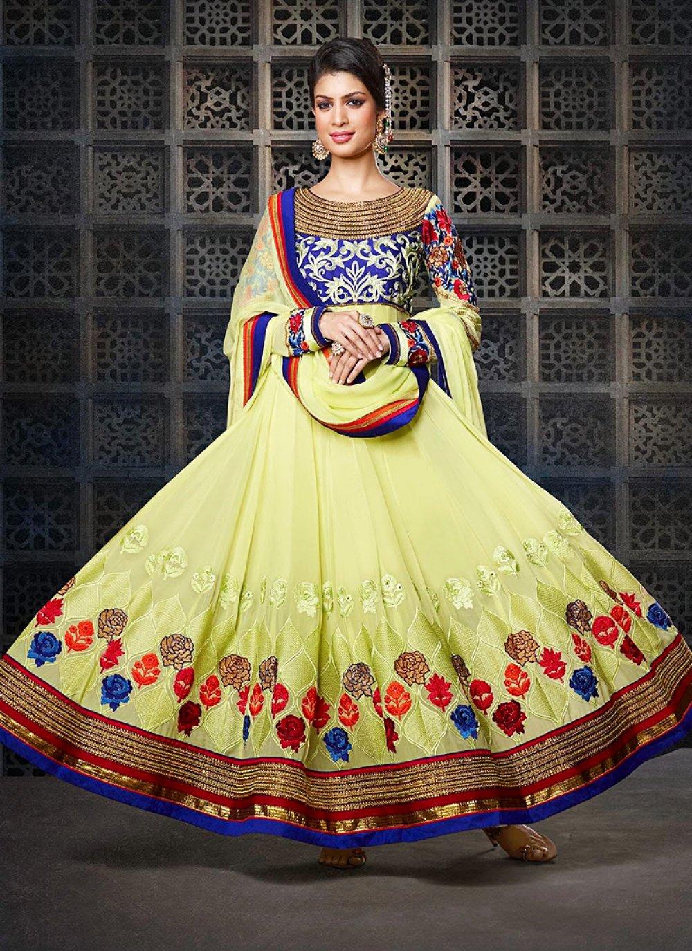 Green Resham Work Velvet Anarkali Suit