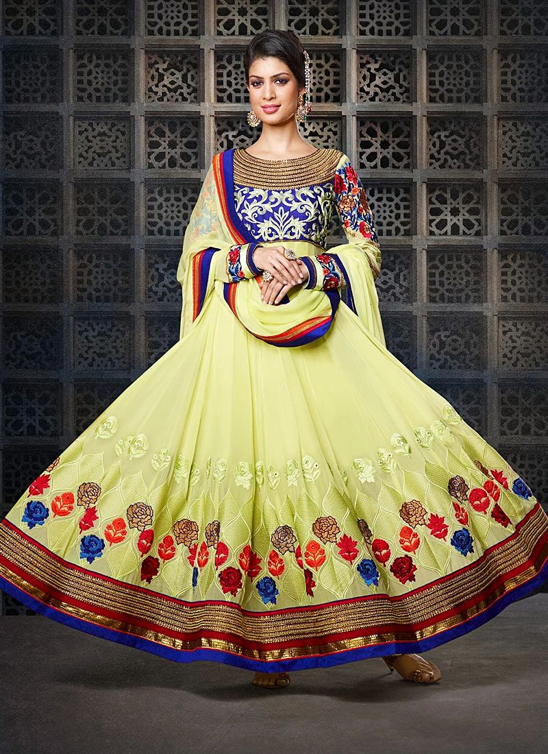 Green Resham Work Velvet Anarkali Suit