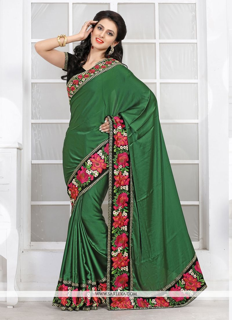 Green Satin Casual Saree
