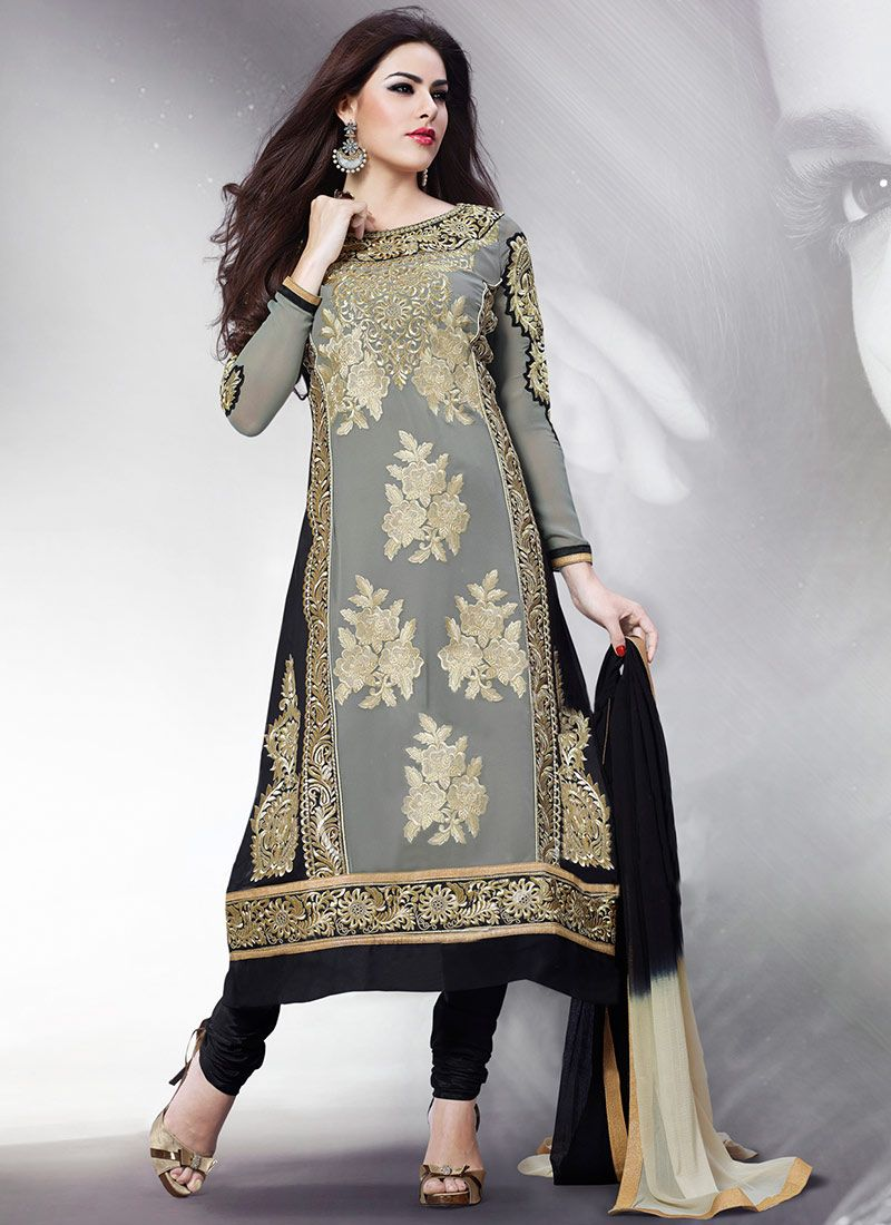 Grey Embroidered Georgette Churidar Suit