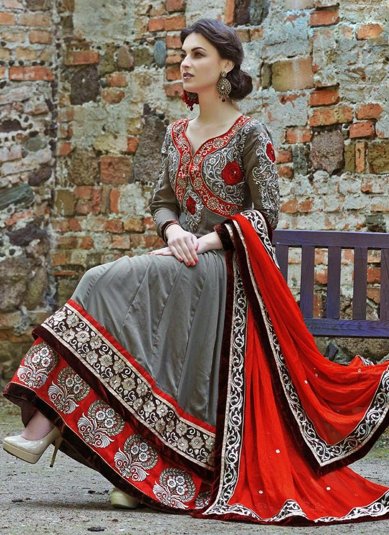Grey Embroidery Work Faux Georgette Anarkali Suit