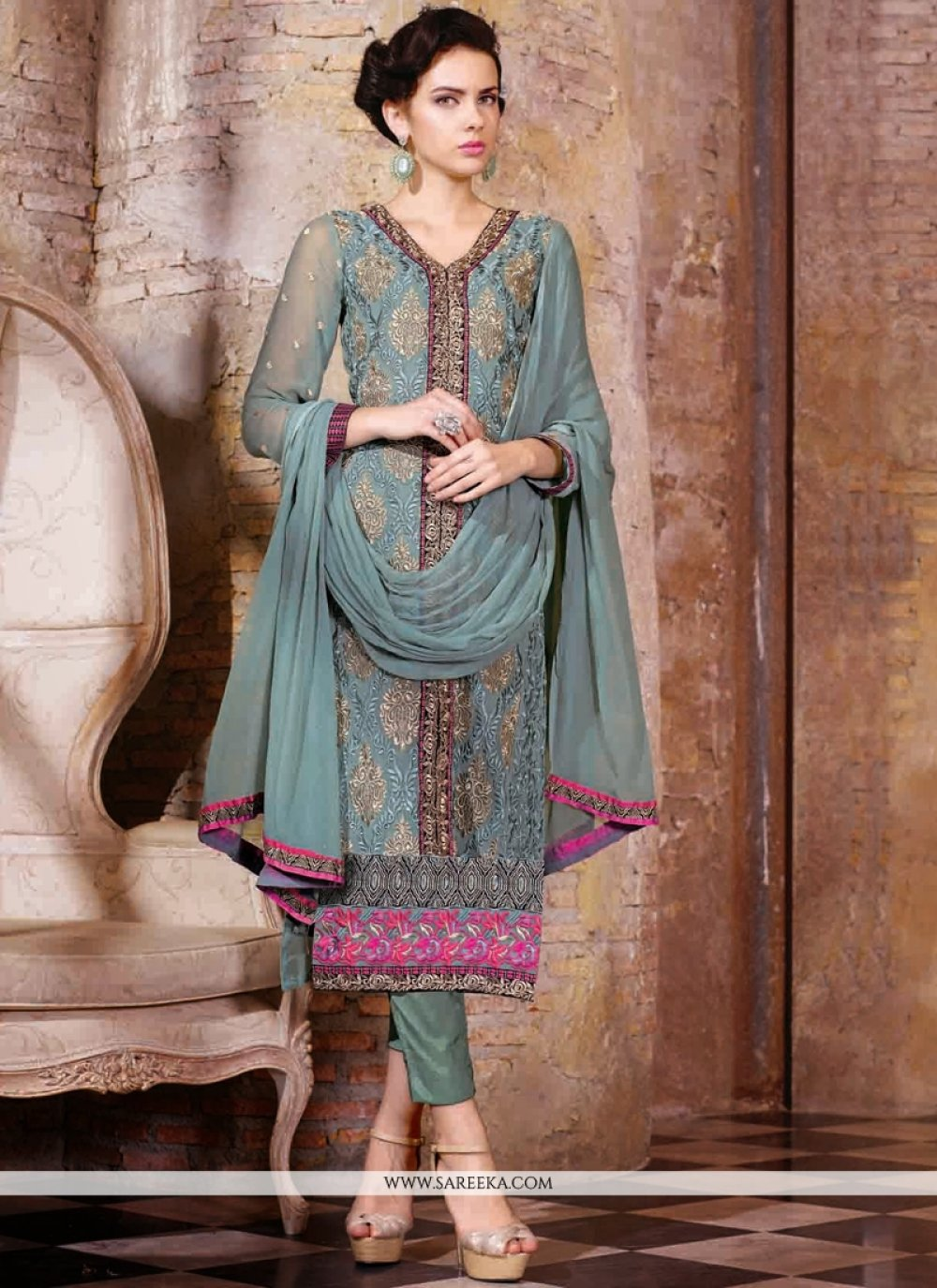 Grey Embroidery Work Pant Style Suit