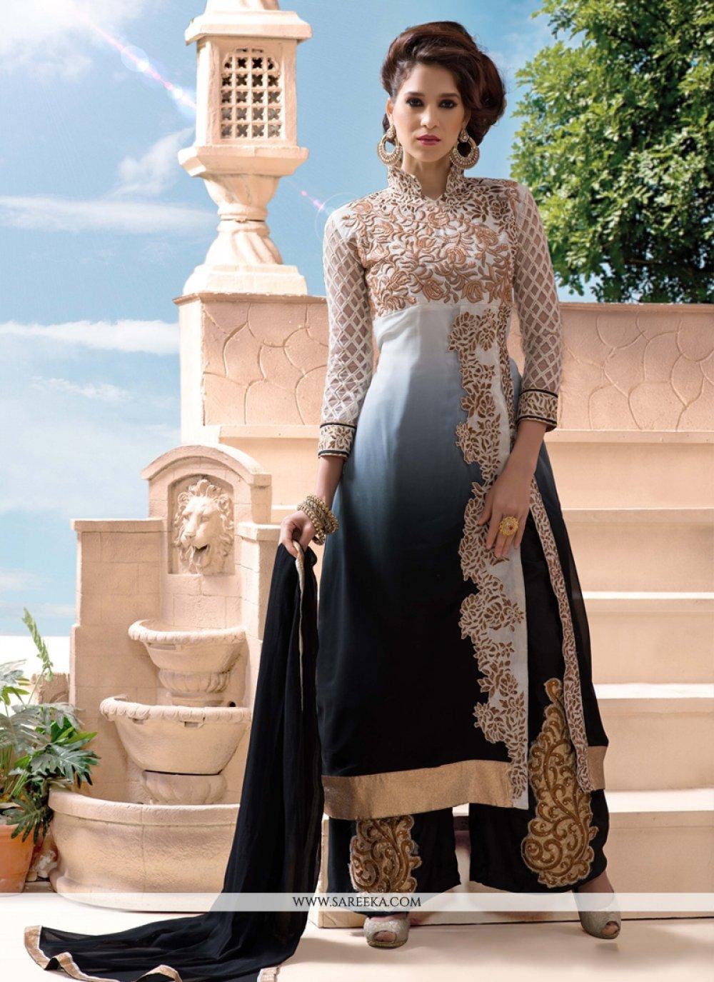 Grey Georgette Palazzo Salwar Suit