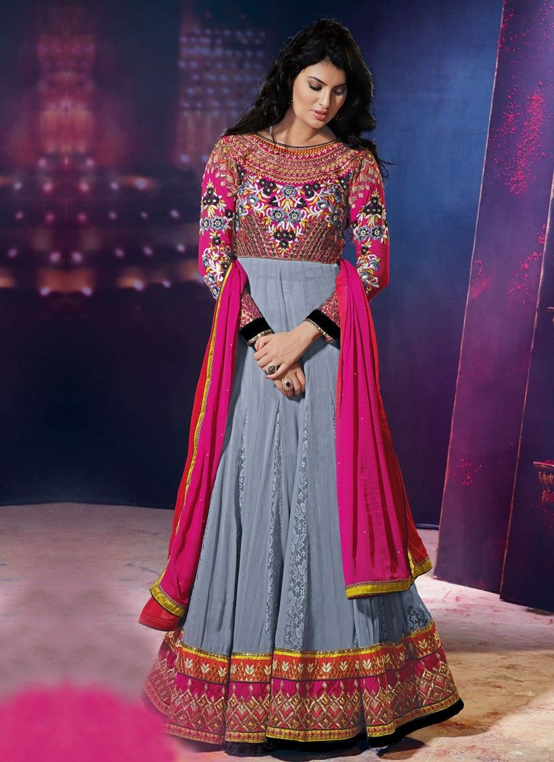 Grey Resham Border Work Anarkali Suit