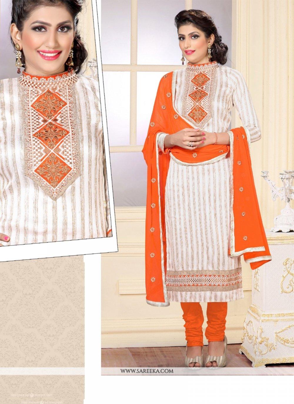Jute Silk White Designer Straight Salwar Kameez