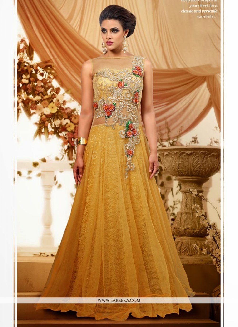 Light Yellow Net Designer Gown