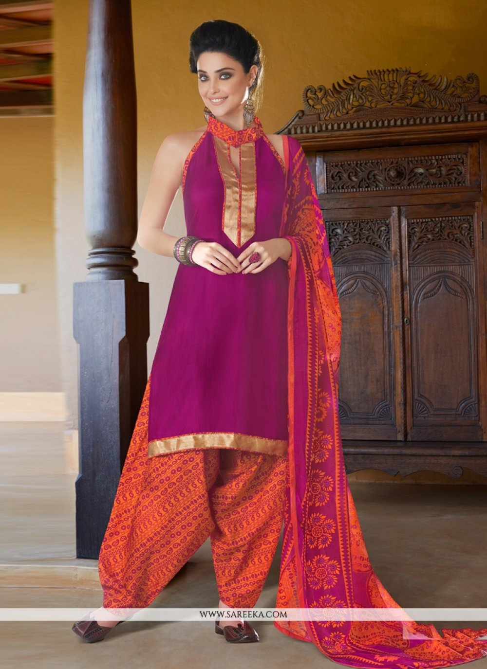Magenta Cotton Satin Punjabi Suit