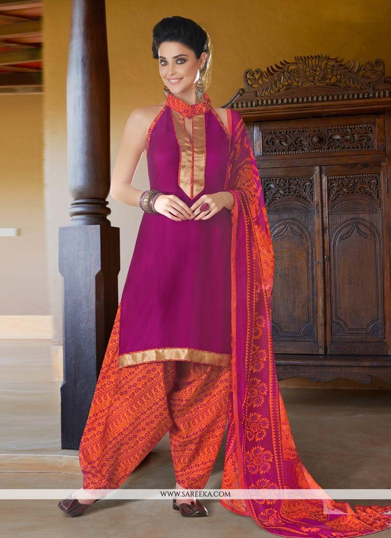 Magenta Cotton Satin Punjabi Suit