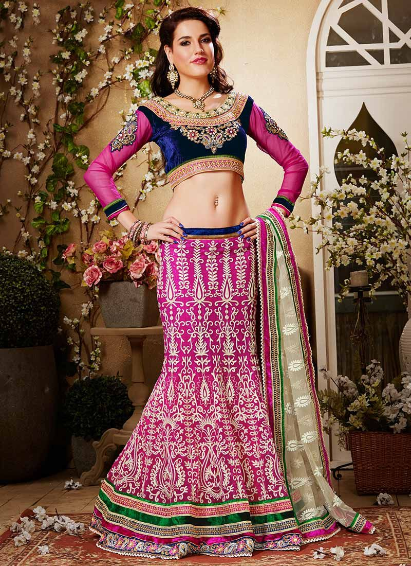Magenta Embroidered Net Lehenga Choli