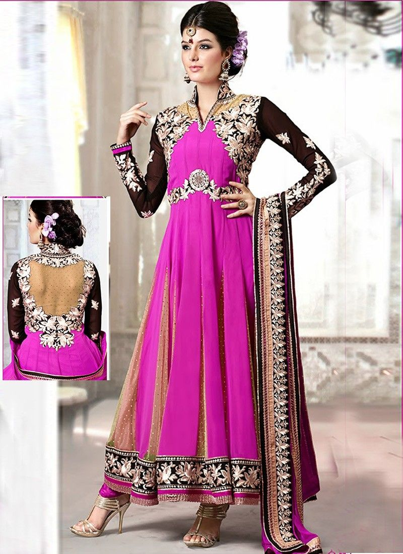Magenta Faux Georgette And Net Anarkali Suit