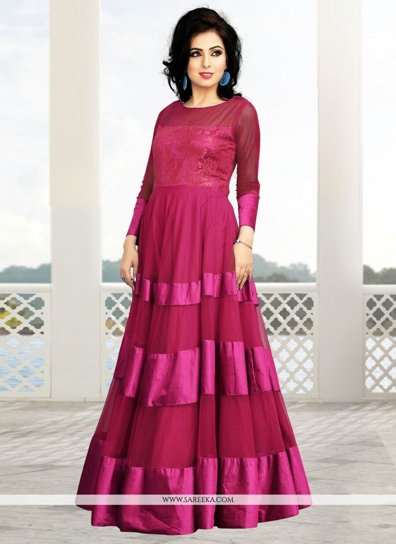 Magenta Soft Net Party Wear Gown