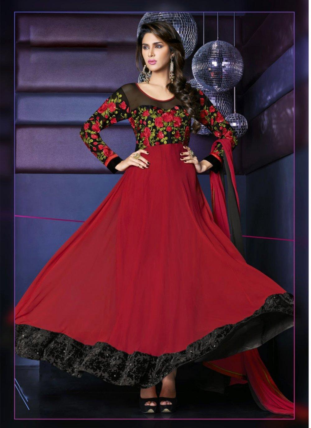 Maroon Resham Anarkali Suit