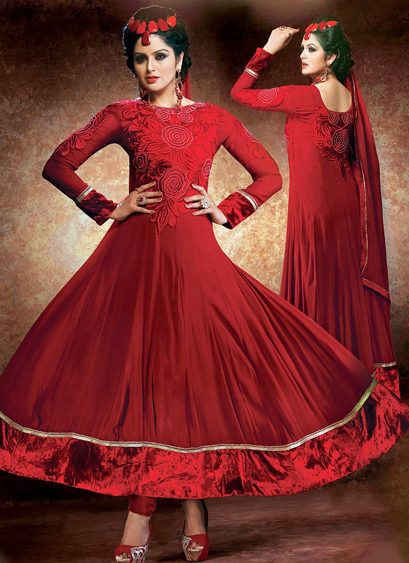 Maroon Resham Work Anarkali Suit