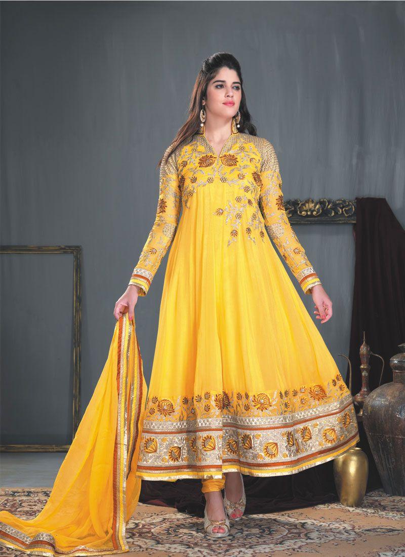 Mustard Reshm Border Work Anarkali Suit