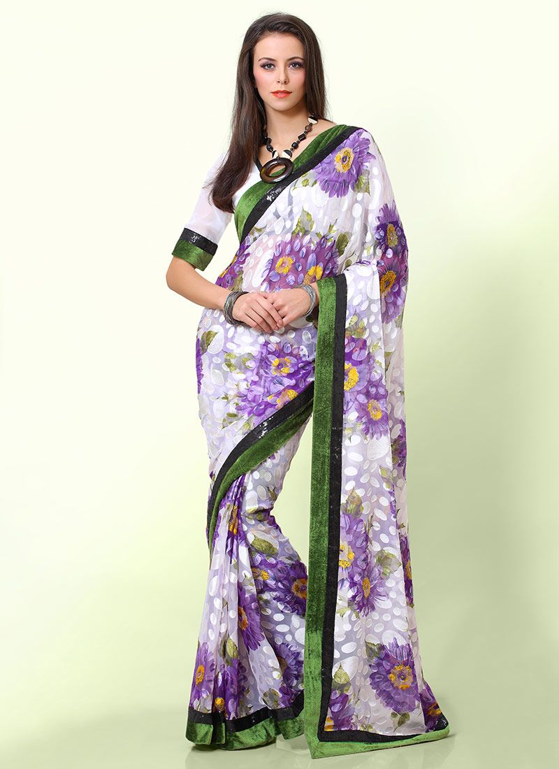 Off White And Green Printed Saree