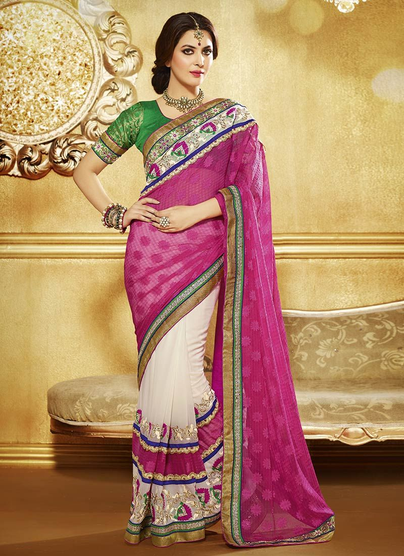 Off White And Pink Faux Georgette Saree