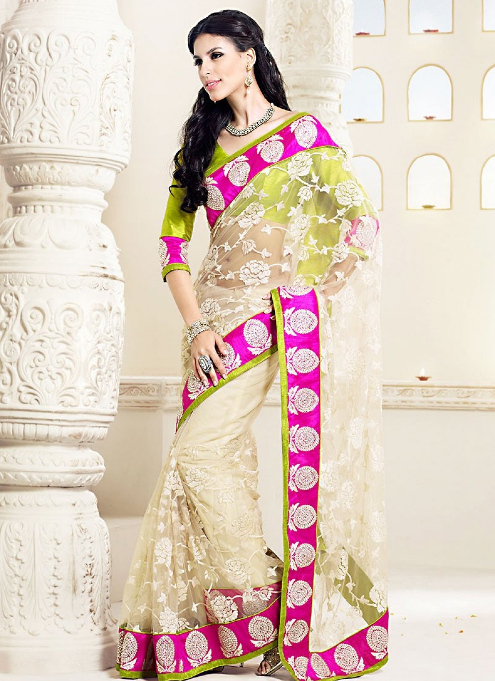 Off White Pure Net Designer Saree