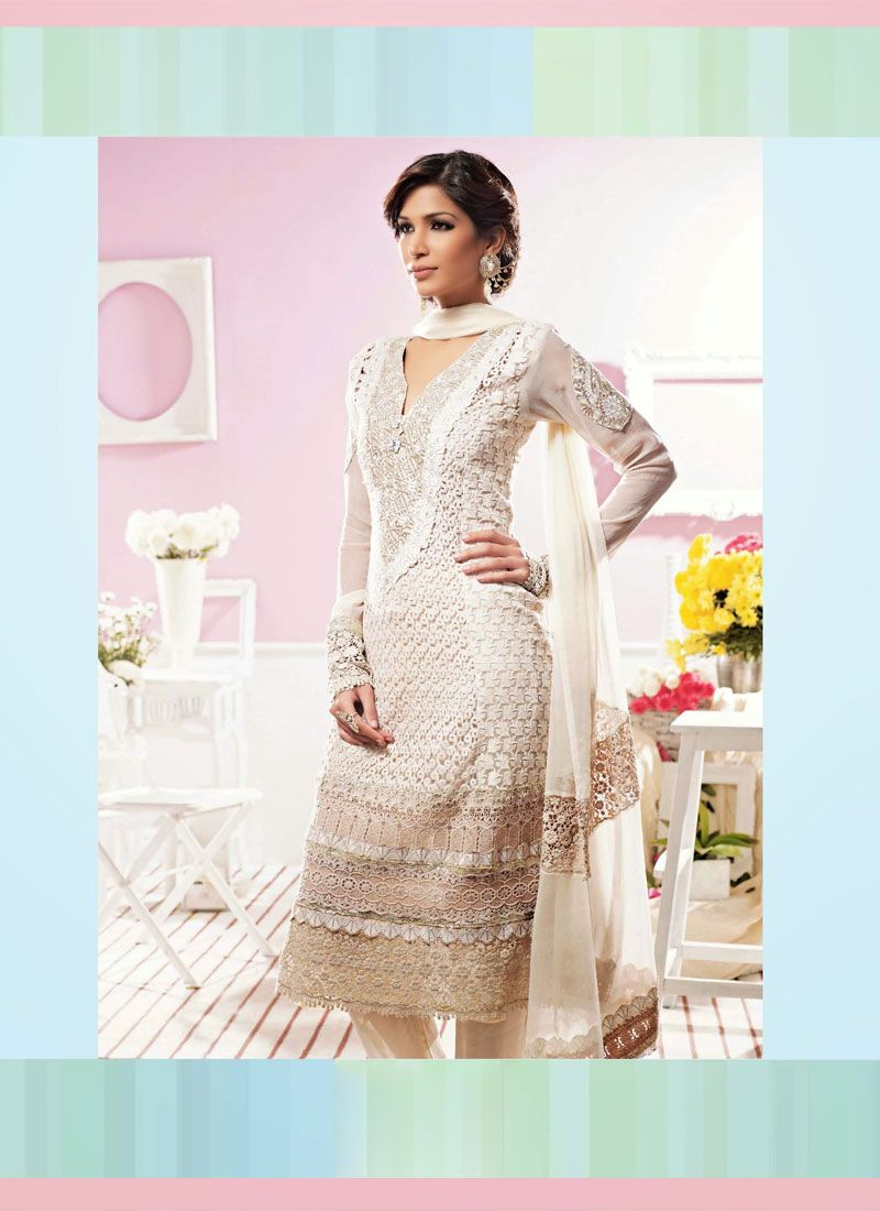 Off White Resham Work Churidar Suit