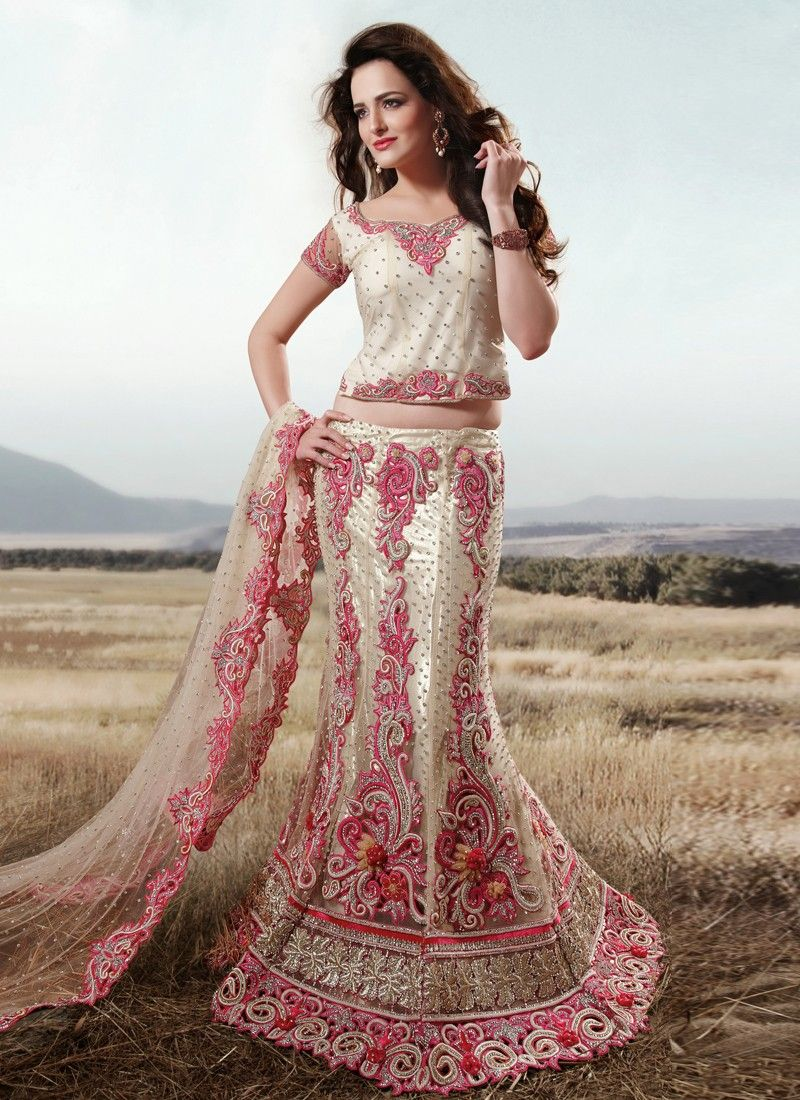Off White Resham Work Wedding Lehenga Saree