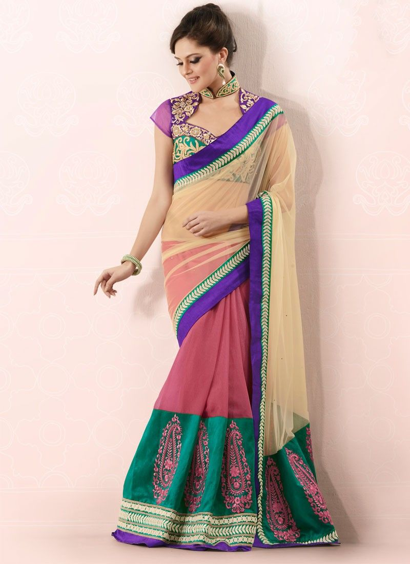 Onion Pink And Beige Half And Half Saree