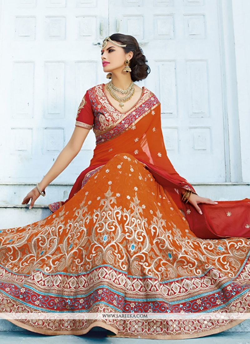 Orange Embroidery Work Lehenga Choli