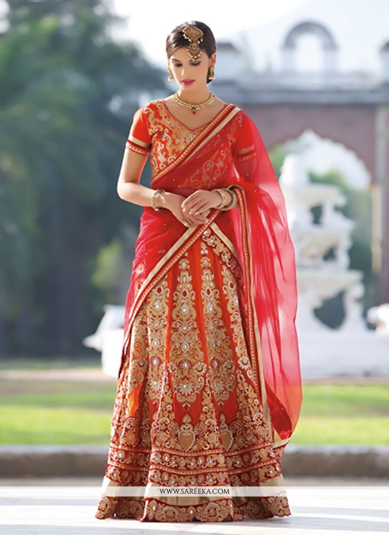 Orange Georgette Wedding Lehenga Choli