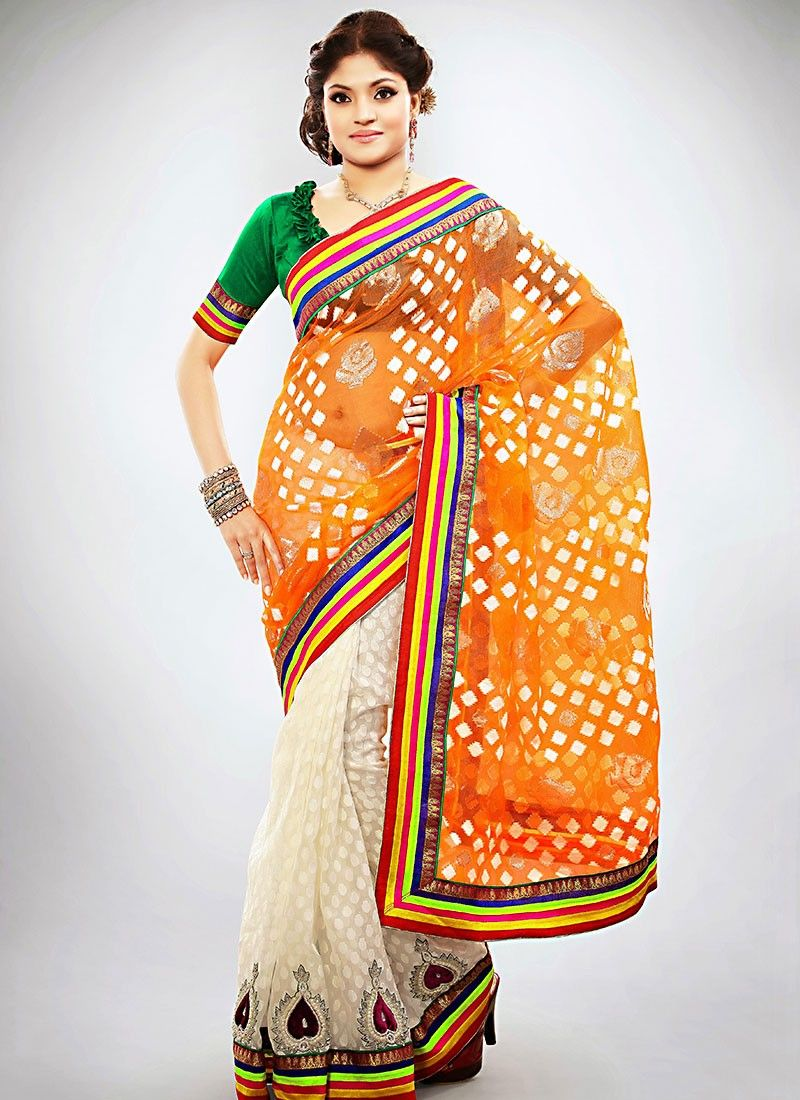 Orange Jacquard Half And Half Saree