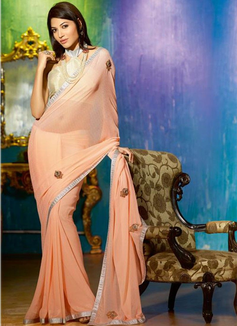 Peach Faux Georgette Casual Saree