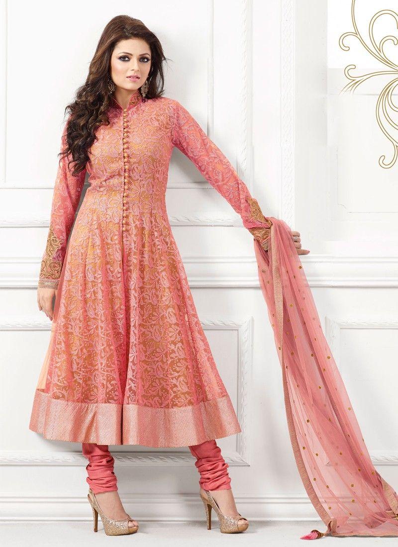 Peach Resham Net Anarkali Suit