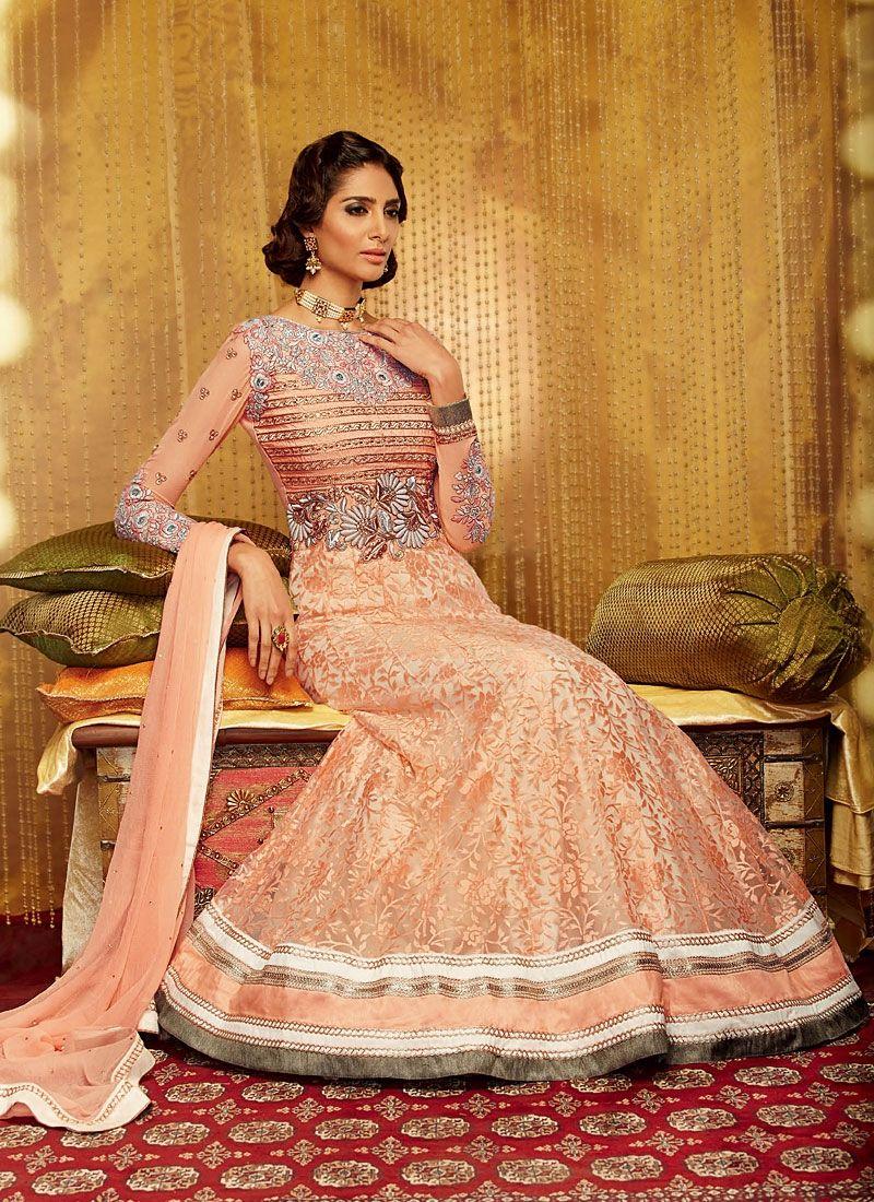 Peach Resham Work Georgette Anarkali Suit