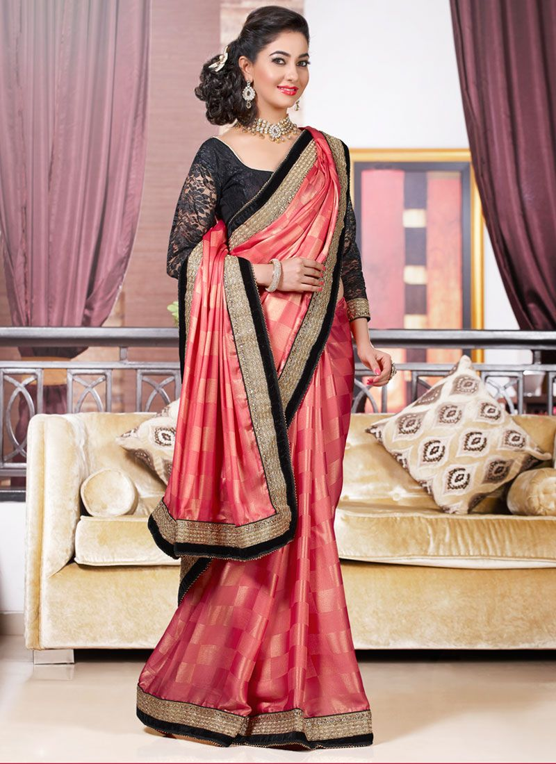 Pink And Black Embroidery Border Work Designer Saree