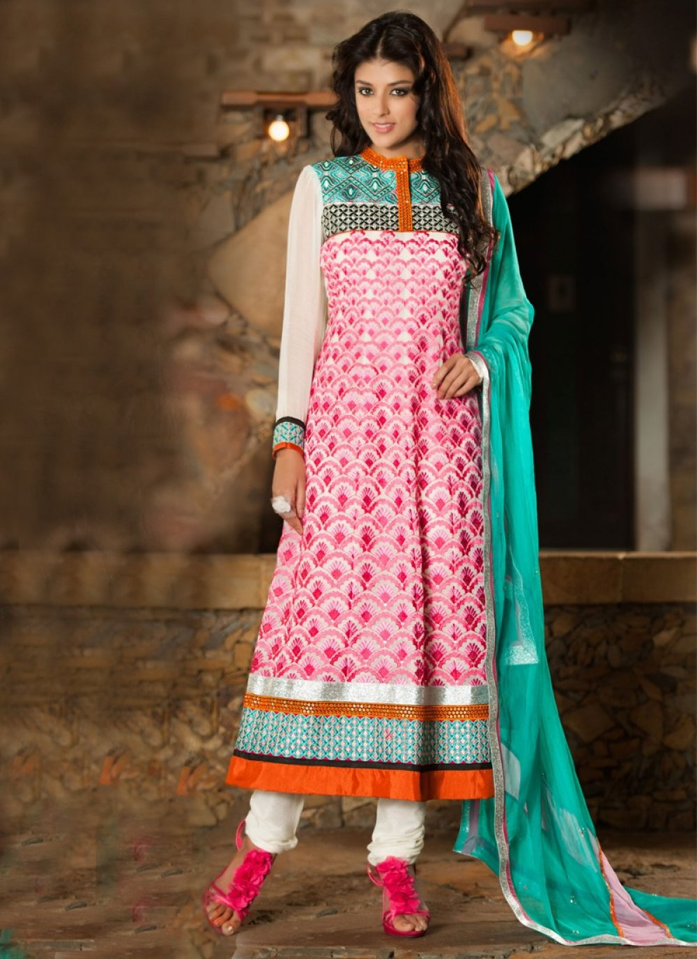 Pink And Off White Georgette Churidar Suit
