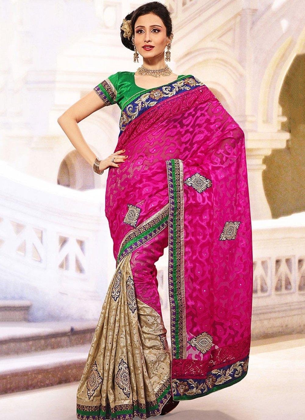 Pink Jacquard And Net Half And Half Saree