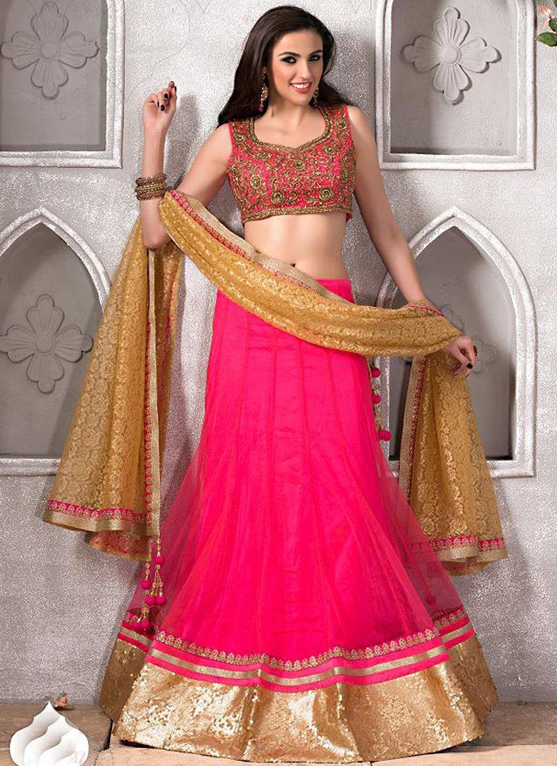 Pink Net Saree: Pink Net Designer Lehenga Choli