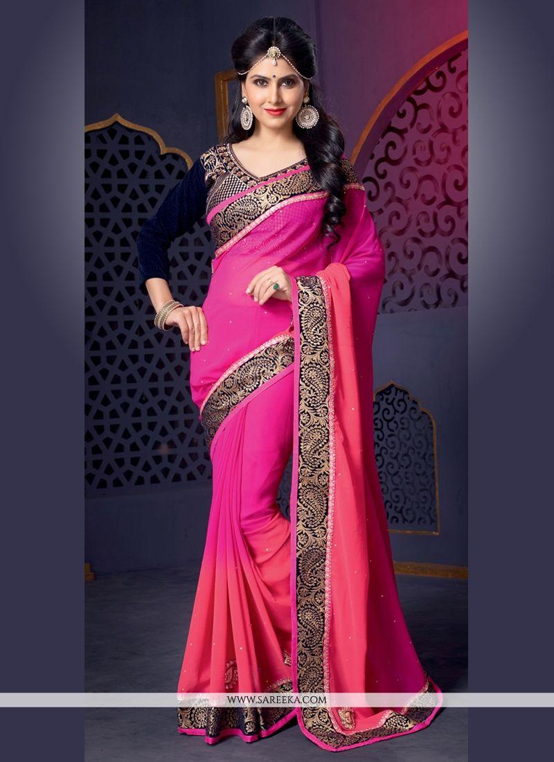 Pink Pure Georgette Designer Saree